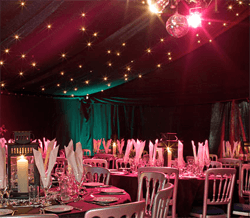Marquee lit in pink theme