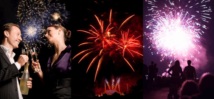 Picture of different firework displays